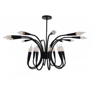 Duża lampa sufitowa efektowna w kolorze czarnym antyczna 20 żarówek Slidehome