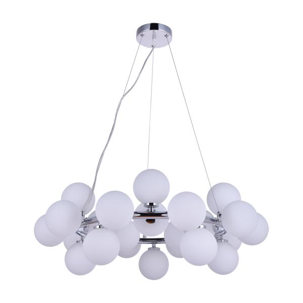 Lampa wisząca z kuleczkami białymi ozdobnymi mlecznymi 25 kloszy eleganckie oświetlenie wiszące duże Slidehome