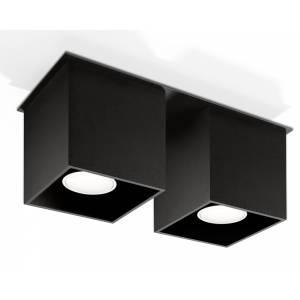 Tuba sufitowa podwójna kwadratowa na dwie żarówki czarna QUAD 2