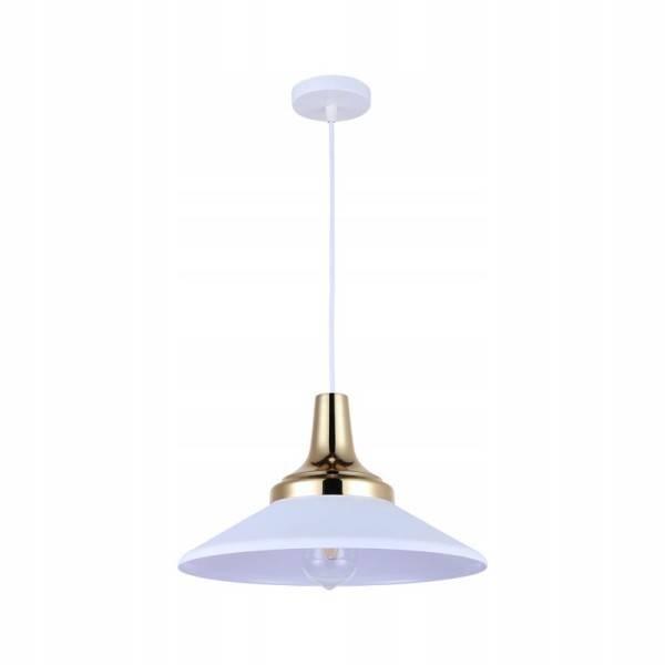 Biała lampa wisząc ana lince ze złotym elementem Slidehome