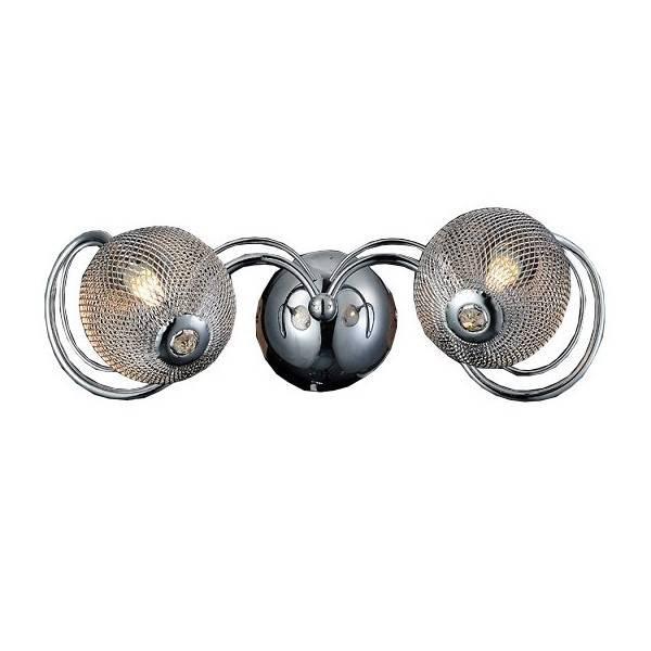 Kinkiet ścienny łazienkowy z kryształkami i srebrnym chromem