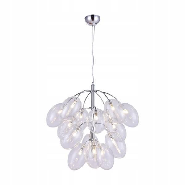 Wisząca lampa ze szklanymi okrągłymi przezroczystymi kloszami bańkami Slidehome